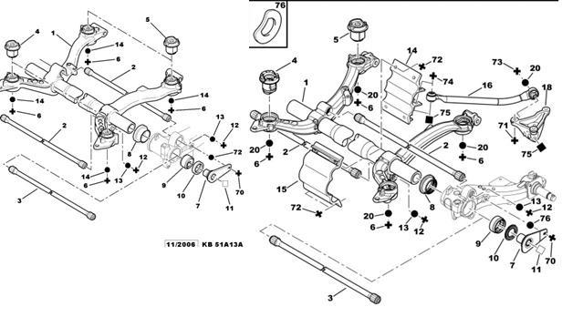 схема расположения задней балки пежо 206